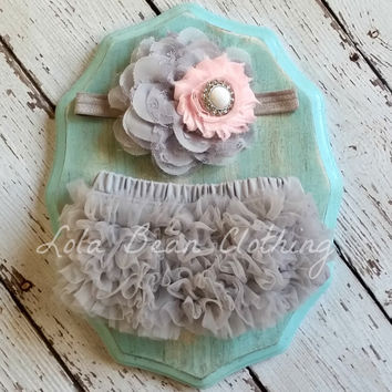 Baby Girl Grey Bloomers Gray Pink Flower Headband Set Newborn Photography Prop 0 3 6 9 12 18 months