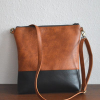 Shoulder bag / Crossbody purse / Two -tone vegan leather bag