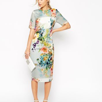 ASOS SALON Floral Open Back Midi T Shirt Dress
