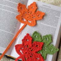 Crochet bookmark Leaf crocheted bookmarks Handmade crochet bookmark Book accessories Gift ideas for book lovers teacher gift student gift