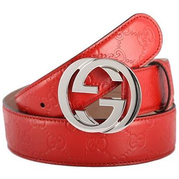 NEW GUCCI GUCCISSIMA RED LEATHER INTERLOCKING G PALLADIUM BUCKLE BELT 100/40 UNI