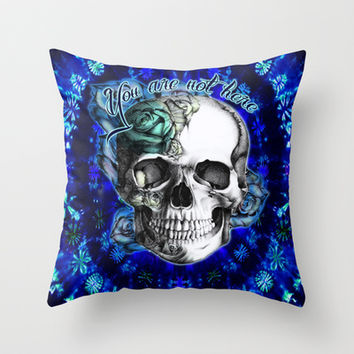You are not here tie dye rose skull in blue and mint.  Throw Pillow by Kristy Patterson Design