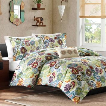 Full / Queen Size Colorful Paisley Pattern 4 Piece Comforter Set