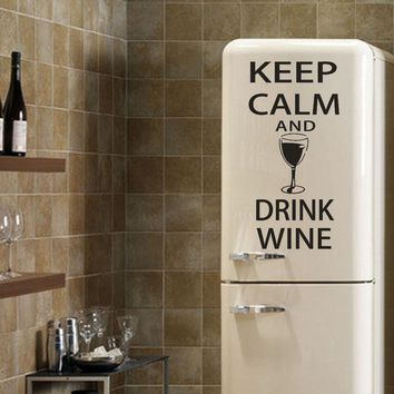 1pc  KEEP CALM AND DRINK WINE Letter Quote Vinyl Wall Decals Mural Art Home Decor Fridge Stickers Wall Decals Kitchen Decoration