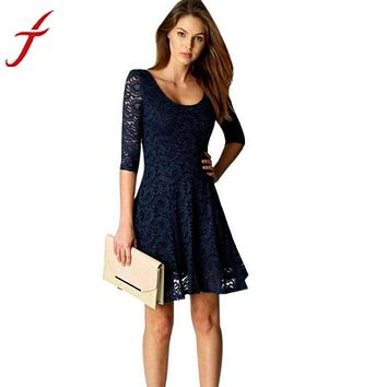 Sexy Lady Women Office Wear Half Sleeve Party Evening Short A-Line Mini Dress