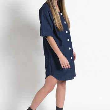 Vintage 90s Indigo Blue Cotton Boxy Smock Dress with Pockets | M/L