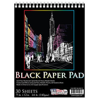 US Art Supply 9 in. x 12 in. Premium Black Heavyweight Paper Spiral Bound Sketch Pad, 140gsm, 64 Pound, 30 Sheets