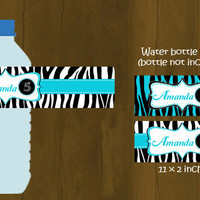 Turquoise and Zebra Water Bottle Labels - Zebra Stripes and Turquoise Printable Water Bottle Labels