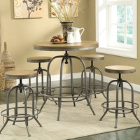 Home bar table rustic antique blackish grey metal finish frame round bar table with distressed wood top
