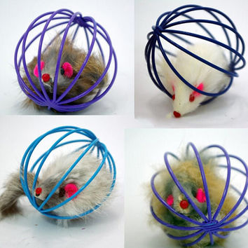 1pc 1pcs Fun Toys False Mouse in Rat Cage Ball For Pet Cat Kitten Play Toy Mouse Best Gift Colors Random
