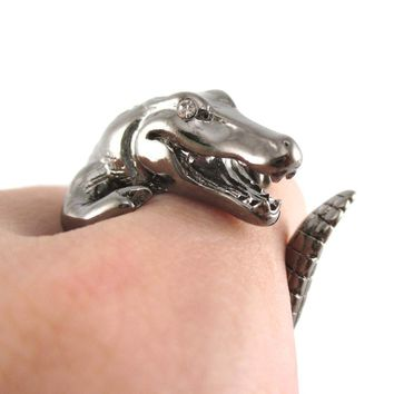 Large Crocodile Alligator Dragon Animal Wrap Ring in Gunmetal Silver | US Size 4 to 9