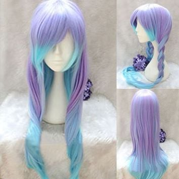 Lolita Style Purple&Blue Ombre Wig Long Straight Gradient Hair Cosplay Party Wig