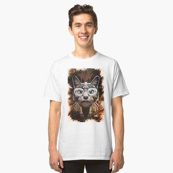 """Curious Cat - Caricature"" Classic T-Shirt by Naumovski 