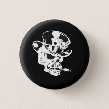 Spooky Hazard Poker Skull cartoon skeleton button