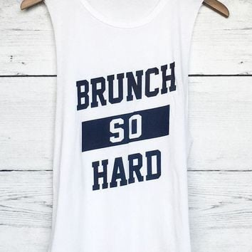 ac NOVQ2A Brunch So Hard Muscle Tee in White