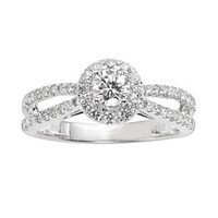 Round-Cut IGL Certified Frame Engagement Ring in 14k Gold Two Tone (1 ct. T.W.)