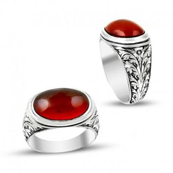 Red oval amber gemstone silver mens ring