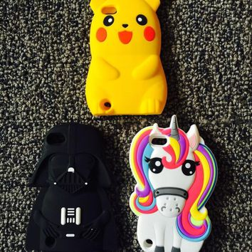 AIPUWEI 3D Cartoon Unicorn Soft Silicone case For Apple iPod touch 5 6 touch 5 touch 6 CASE COVER Cute licorne Horse bear coque