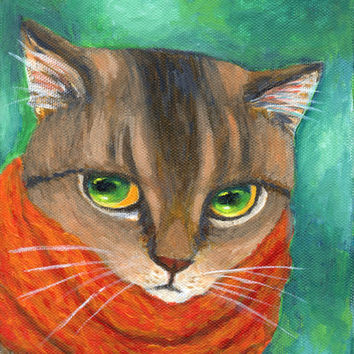 """ACEO cat art print   """"A Cat Wearing Scarf""""  hanging wall artwork kitchen nursery room (124)"""
