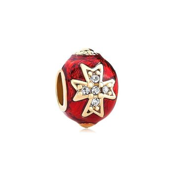 Red/Blue Drip Gum Celtic Cross Clear Swarovski Elements Crystal Faberge Egg Beads Fits Pandora Charms