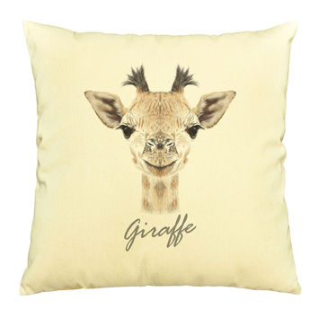 Portrait of Giraffe Printed Cotton Decorative Pillows Case VPLC_03