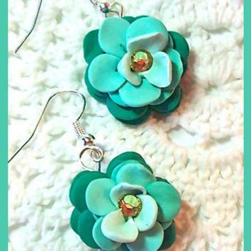 Flower Petal Earrings Polymer Clay Flower Blossoms Swarovski Crystals Dangle Earrings Handcrafted 3 shades of teal/aqua