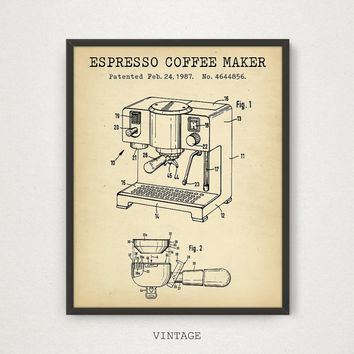 Espresso Coffee Maker Patent Printable, Kitchen Coffee Wall Art, Coffee Poster, Vintage Coffee Print, Coffee Lover Gift, Digital Download