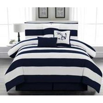 Legacy Decor 7pc. Microfiber Nautical Themed Comforter set, Navy Blue and White Striped, Queen Size