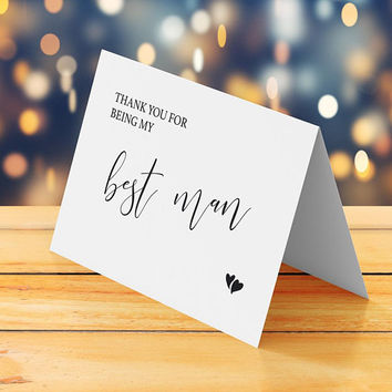 Best man thank you card printable, Wedding thank you card, Blank thank you card, Simple rustic black and white DIY thank you card, Download