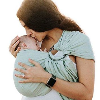 Luxury Ring Sling Baby Carrier – Extra Soft Bamboo & Linen Fabric, Full Support and Comfort for Newborns, Infants & Toddlers - Best Baby Shower Gift - Great for Men Too (Spring Green)