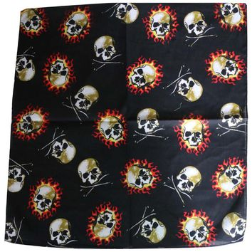 2017 New Cool Hip Hop Punk Black Skull Flame Bandanas Motorcycle For Mens Male