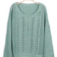 Green Broken Stripe Batwing Knit Sweater - Sheinside.com