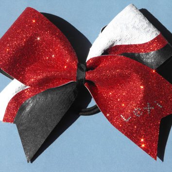 Cheer Bow Texas Style Red, Black & White - Personalized Bow - Rhinestone Name Bow