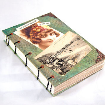 Coptic Hand Bound Journal, She Believed She Could So She Did, OOAK Journal