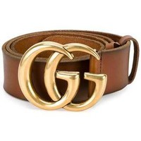 GUCCI Stylish Women Men Personality Smooth Buckle Leather Belt +Gift Box Brown