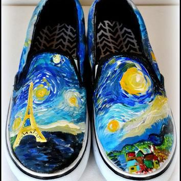 Womens Van Gogh Shoes, Custom Starry Night Shoes, Painted Eiffel Tower, Starry Night,