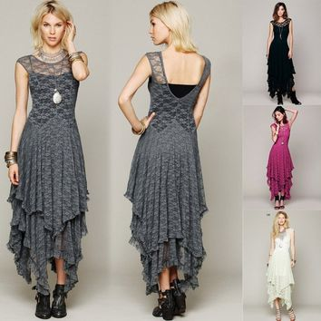 New Womens Hippie Boho Embroidery Maxi Lace Crochet Party Cocktail ALong Dress