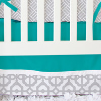 Gray and Teal Mod Bumperless Crib Bedding