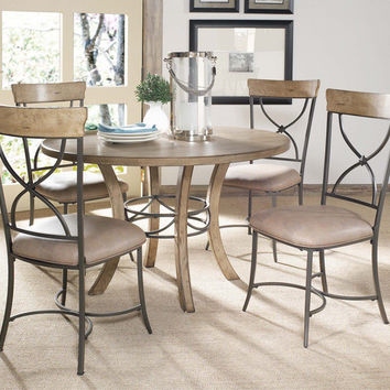 102013 Charleston 5-Piece Round Wood Base Dining Set with X Back Chair - Free Shipping!