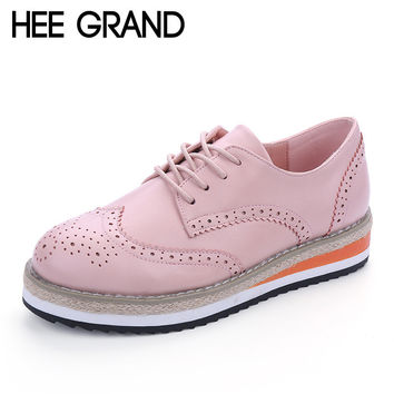 HEE GRAND Brogue Shoes Woman Candy Colors Platform Women Oxfords British Style Creepers Cut-Outs Flat Casual Women Shoes XWD4233