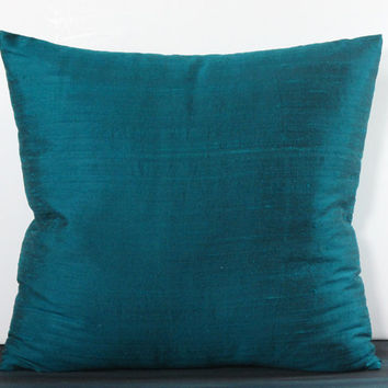 Shimmery Peacock Blue in Silk Dupioni Pillow Cover Lined in Muslin. Pick a size. Holiday Decor, Christmas Decor, Winter Decor. Trendy Color