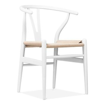 Reproduction of Wishbone Chair CH24 Y Chair - White & Natural Paper Cord | GFURN