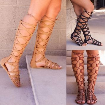 Knee High Boots Women Shoes Ladies Multi-strap Gladiator Sandals