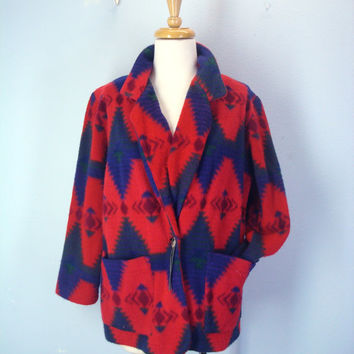 Southwest 80s Jacket / Navajo Blanket Jacket / 1980s Red Slouchy Jacket / Southwestern