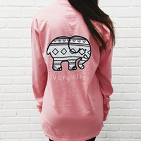 Trending Fashion Pink Ivory Ella Cartoon Elephant Long Sleeve Round Necked Top Shirt T-Shirt