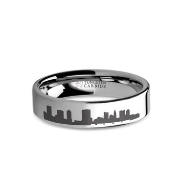 Columbus City Skyline Cityscape Laser Engraved Tungsten Ring
