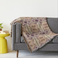 Vintage Inspired Purple and Beige Throw