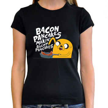 The Bacon Pancakes Jake And Finn The Adventure Time Cartoon Television Series Women Black Tee Shirt