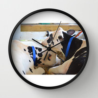 Pair of black and white cows 1 Wall Clock by Lanjee