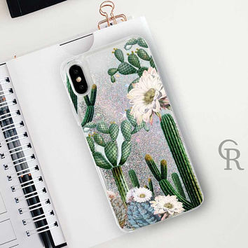 Cactus Glitter Phone Case Clear Case For iPhone 8 iPhone 8 Plus - iPhone X - iPhone 7 Plus - iPhone 6 - iPhone 6S - iPhone SE  iPhone 5